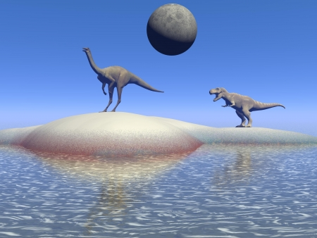 enormous: dinosaur and moon