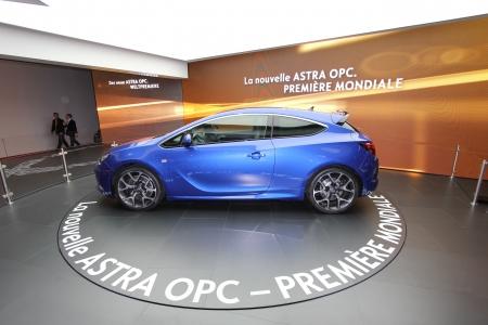 astra: GENEVA - MARCH 16   ASTRA OPC on display at the 82nd International Motor Show Palexpo -Geneva on March 16; 2012 in Geneva, Switzerland