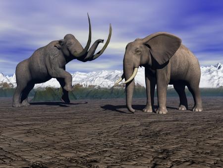 black mammoth: mammoth and elephant
