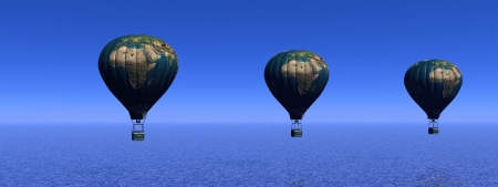 Hot-air balloon and earth photo