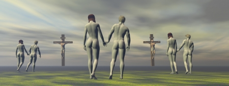 cross grey and men and women photo