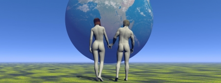 a man and a woman and earth photo