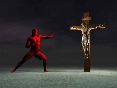 a man red and cross photo
