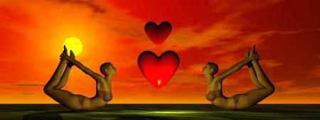 yoga and sun and heart photo