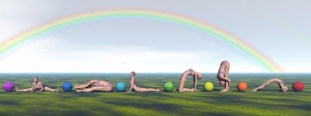 heart chakra red: yoga and chakras and rainbow