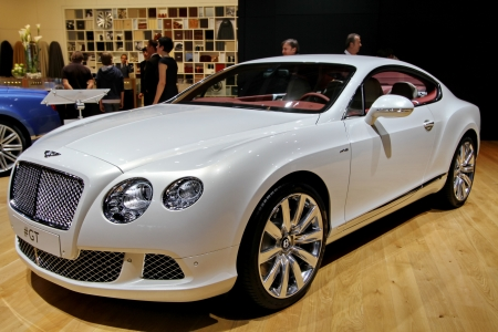 GENEVA   MARCH 8   A BENTLEY continental GT v8 on display at the 83nd  international motor show Palexpo-Geneva on march 8;2013 in Geneva Stock Photo - 18368457