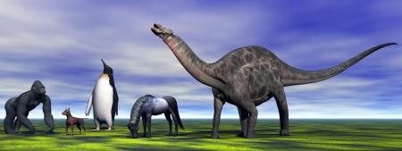 dino Dicraeosaurus  and animals