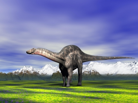 dino Dicraeosaurus  and mountain and snow Banque d'images