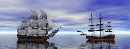 frigate: twon boats merchants and ocean