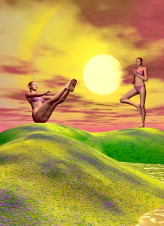 two women practicing yoga and hills photo