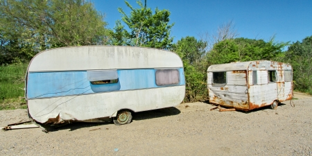 two caravans and sky blue photo