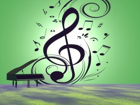 soprano saxophone: las notas musicales y de piano y la trompeta