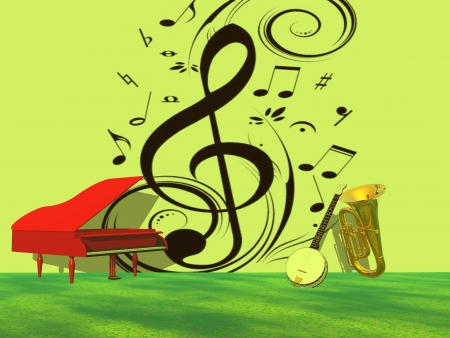 soprano: musical notes and piano and trumpet