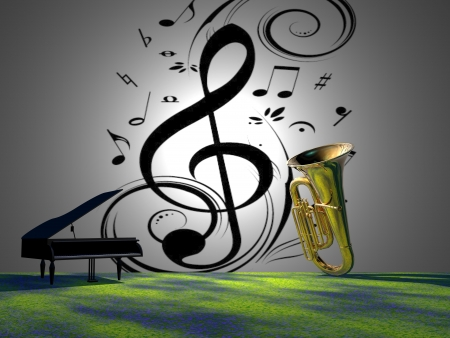 musical notes and piano and trumpet photo