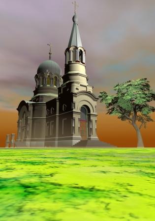 church and tree photo
