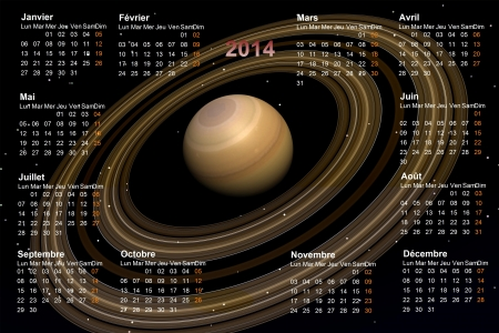 calendar 2014 and planet Saturn photo