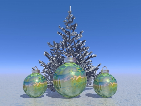 firtree and balls and Christmas photo