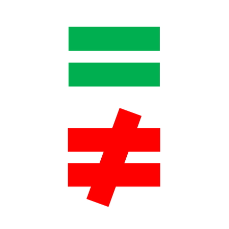 difference: mathematical equal and difference green red