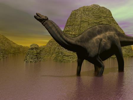 A dicraeosaurus dinosaur legs in the water surrounded with mountains