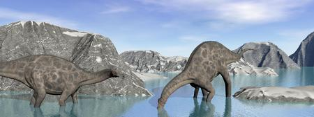 two dicraeosaurus dinosaur drink some water surrounded with mountains