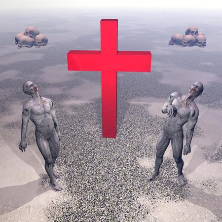 suffer: red cross with two zombies on side and the ground of skulls by sunrise Stock Photo