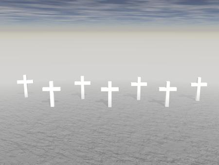 crosse: Seven white crosses planted in the ground by snuset