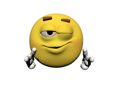 icone: emoticon wink of an eye yellow and white