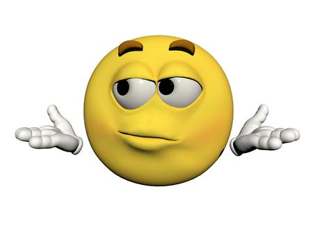 emoticon uncomfortable yellow and white Stock Photo