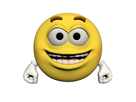 icone: emoticon joyful yellow and white Stock Photo