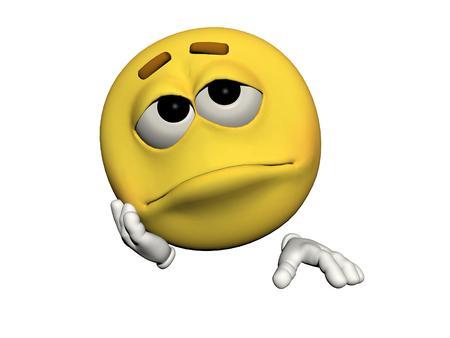 icone: emoticon sad yellow and white Stock Photo