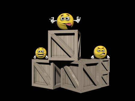 icone: Several wooden boxes with emoticons Stock Photo