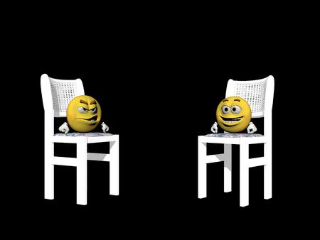 icone: Emoticons sat on a chair