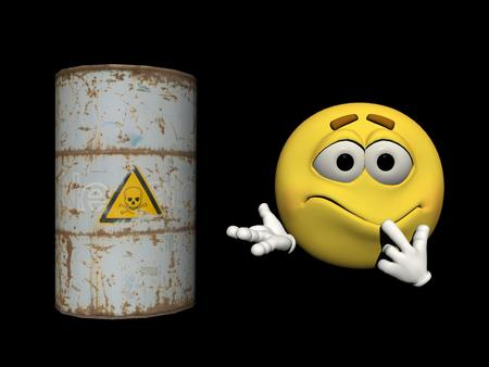 toxic product: can of toxic product frightens an emoticon Stock Photo