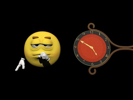 red clock which gives the happiness tires an emoticon