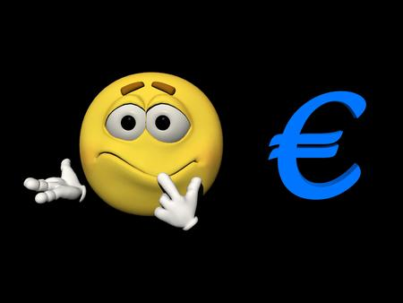 embarrassed: Emoticon yellow embarrassed and euro blue - 3d render