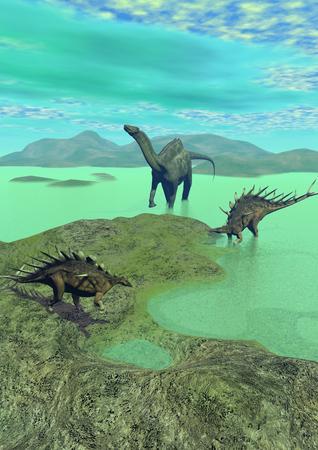 extinction: kentrosaurus and dicraeosaurus dinosaur  and hill Stock Photo