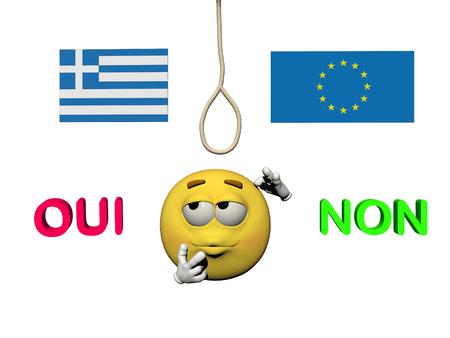 yes or no to euro: greece referendum and emoticone in questioning