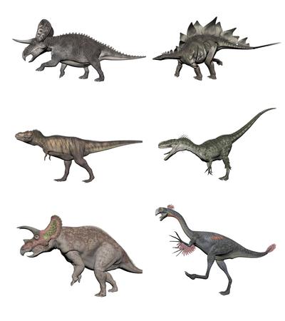 brachiosaurus: Six various dinosaurs on white bottom Stock Photo