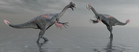 두 개의 gigantoraptor 공룡과 호수