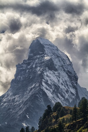 pyramid peak: Landscape of mountain Cervin with a threatening sky