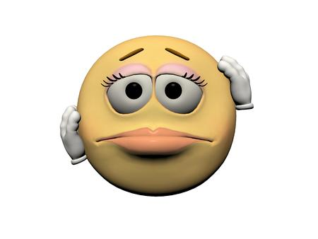 downcast: emoticon girl downcast yellow and orange Stock Photo