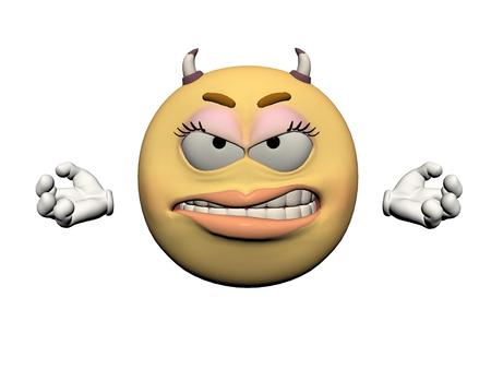 smile happy: emoticon girl anger yellow and orange