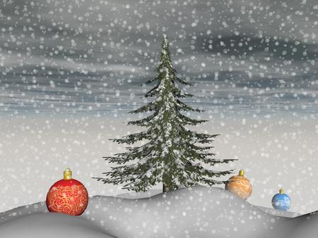 is magnificent: Magnificent Christmas baubles and a fir tree in the landscape