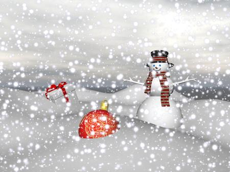 magnificent: Magnificent Christmas baubles and a snowman Stock Photo