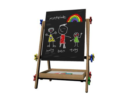 kidsroom: School picture with childs drawing