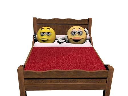 mobil: Two emoticon in the bed with a red cover