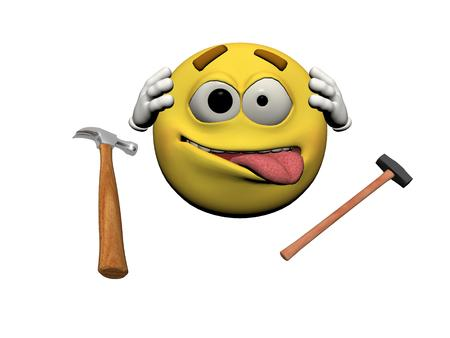 smily: Emoticon handyman and two hammers
