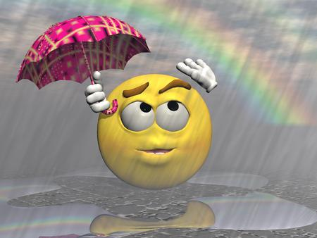 rainbow umbrella: Emoticon rain and umbrella with a rainbow Stock Photo