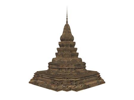 白い背景で分離された仏舎利塔 bouddhist