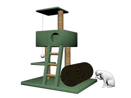 it is isolated: cat tree with a white cat on it isolated in white background